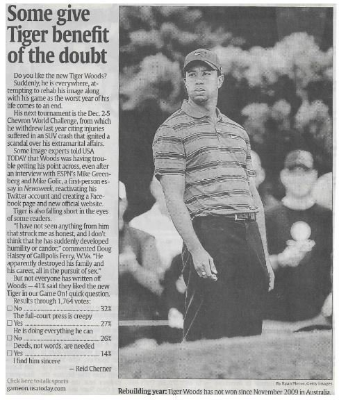 Woods, Tiger / Some Give Tiger Benefit of the Doubt | Newspaper Article | November 2010 | Golf