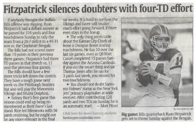 Fitzpatrick, Ryan / Fitzpatrick Silences Doubters with Four-TD Effort | Newspaper Article | November 2010 | Buffalo Bills