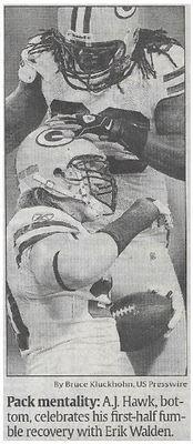 Hawke, A.J. / Pack Mentality | Newspaper Photo | November 2010 | Green Bay Packers