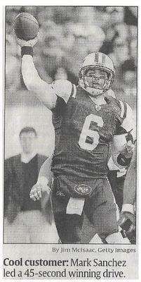 Sanchez, Mark / Cool Customer | Newspaper Photo | November 2010 | New York Jets