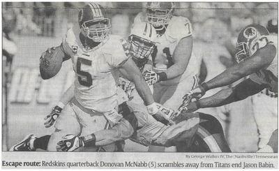 McNabb, Donovan / Escape Route | Newspaper Photo | November 2010 | Washington Redskins