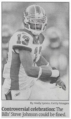 Johnson, Steve / Controversial Celebration | Newspaper Photo | November 2010 | Buffalo Bills