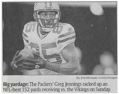 Jennings, Greg / Big Yardage | Newspaper Photo | November 2010 | Green Bay Packers