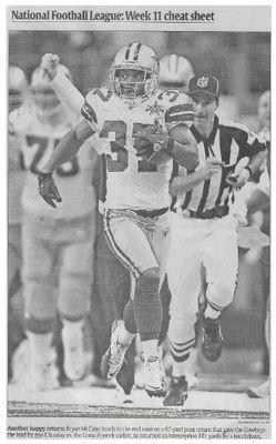 McCann, Bryan / Another Happy Return | Newspaper Photo | November 2010 | Dallas Cowboys