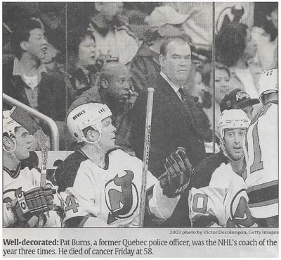 Burns, Pat / Well-Decorated | Newspaper Photo | November 2010 | New Jersey Devils