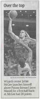 McGee, JaVale / Over the Top | Newspaper Photo | November 2010 | Washington Wizards