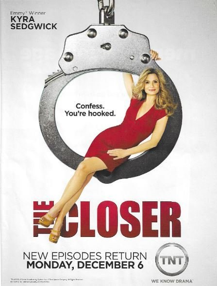 Sedgwick, Kyra / The Closer - Confess. You're Hooked. | Magazine Ad | November 2010