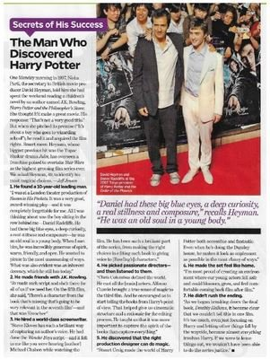 Radcliffe, Daniel / The Man Who Discovered Harry Potter | Magazine Article | November 2010 | David Heyman