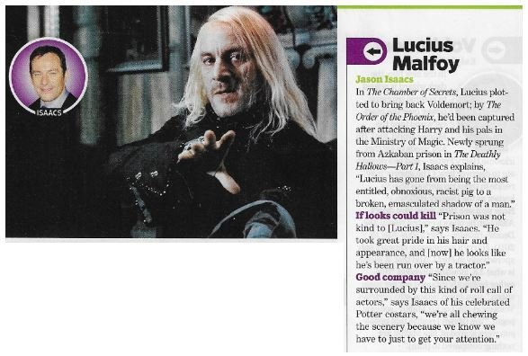Isaacs, Jason / As Lucius Malfoy | Magazine Article | November 2010 | Harry Potter
