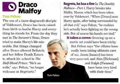 Felton, Tom / As Draco Malfoy | Magazine Article | November 2010 | Harry Potter