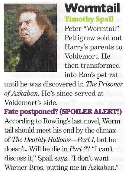 Spall, Timothy / As Wormtail | Magazine Article | November 2010 | Harry Potter