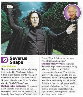 Rickman, Alan / As Severus Snape | Magazine Article | November 2010 | Harry Potter
