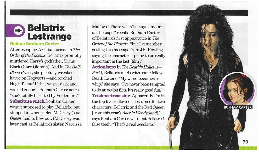 Carter, Helena Bonham / As Bellatrix Lestrange | Magazine Article | November 2010 | Harry Potter