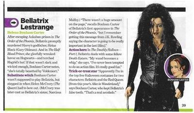 Carter, Helena Bonham / As Bellatrix Lestrange | Magazine Article | November 2010 | Harry Potter