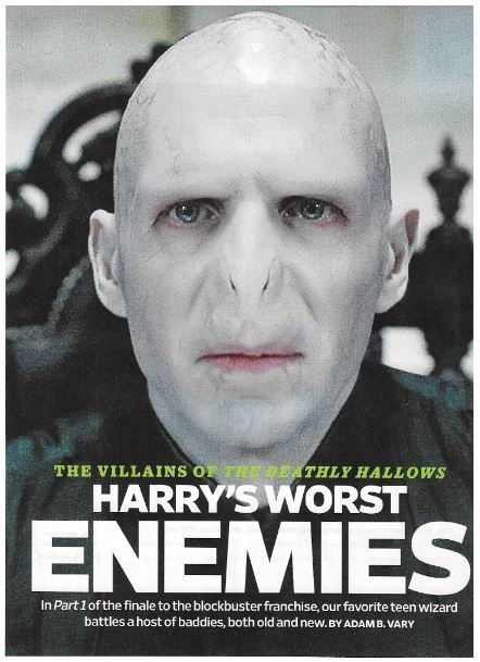 Fiennes, Ralph / As Voldemort | Magazine Article | November 2010 | Harry Potter