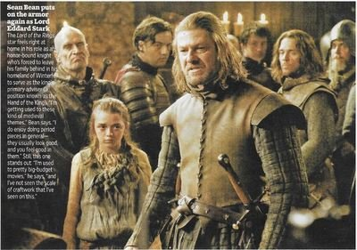 Bean, Sean / Puts On the Armor Again As Lord Eddard Stark | Magazine Photo | November 2010 | Game of Thrones