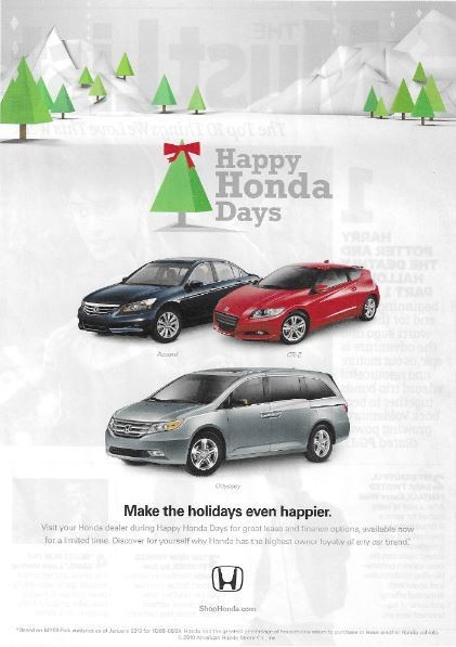 Honda / Happy Honda Days | Magazine Ad | November 2010