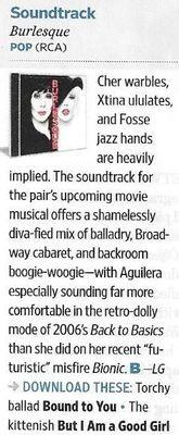 Cher + Christina Aguilera / Burlesque - Soundtrack   Magazine Review   November 2010