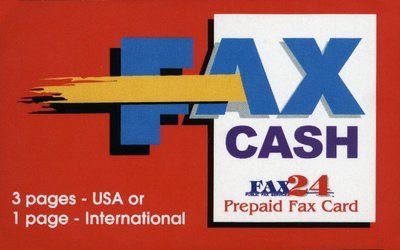 3 Page USA or 1 International Fax Cash Card