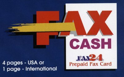4 pages USA or 1 International Fax Cash Card