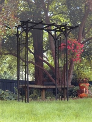 Flat Top Garden Arch With Finials - Black