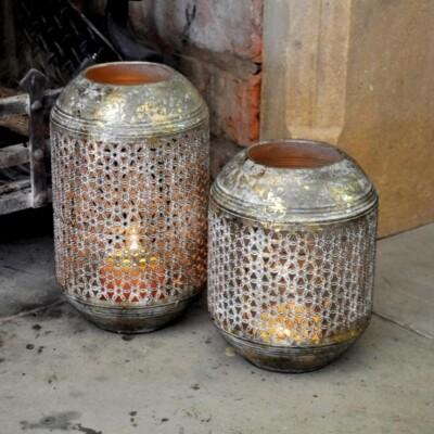 Candleholder - Gold Drum Large