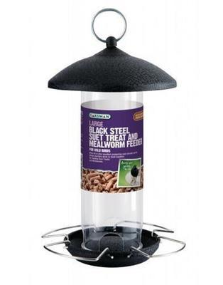 Black Steel Suet Treat & Mealworm Feeder A01526