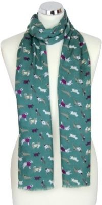 Dogs Print Scarf - Spruce