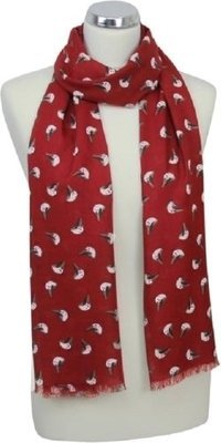 Robin Print Scarf - Red