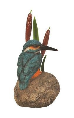 Metal Kingfisher On Stone/ Bulrush