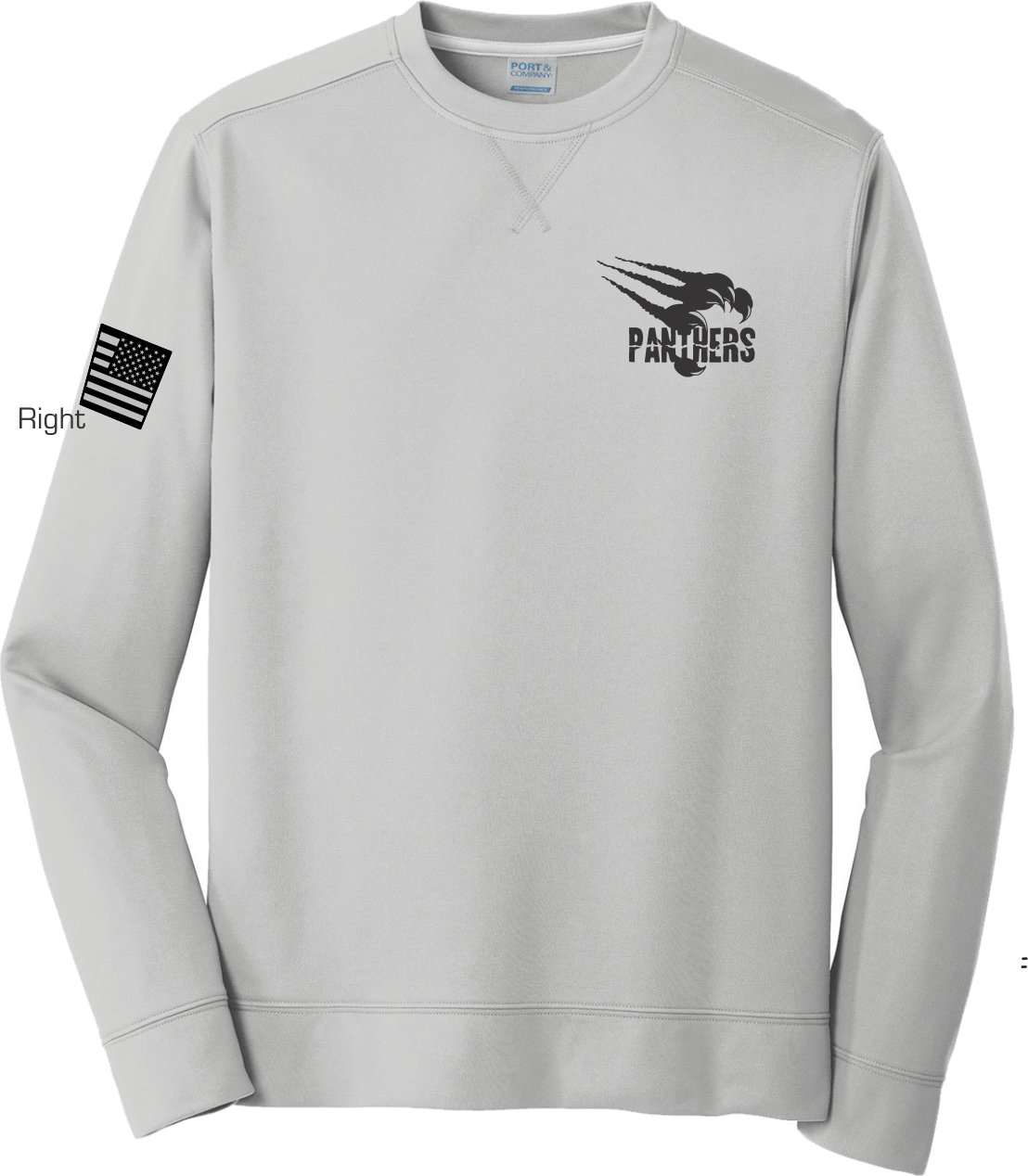 Silver Poly Fleece Crew Sweatshirt PPSLVLSCRW