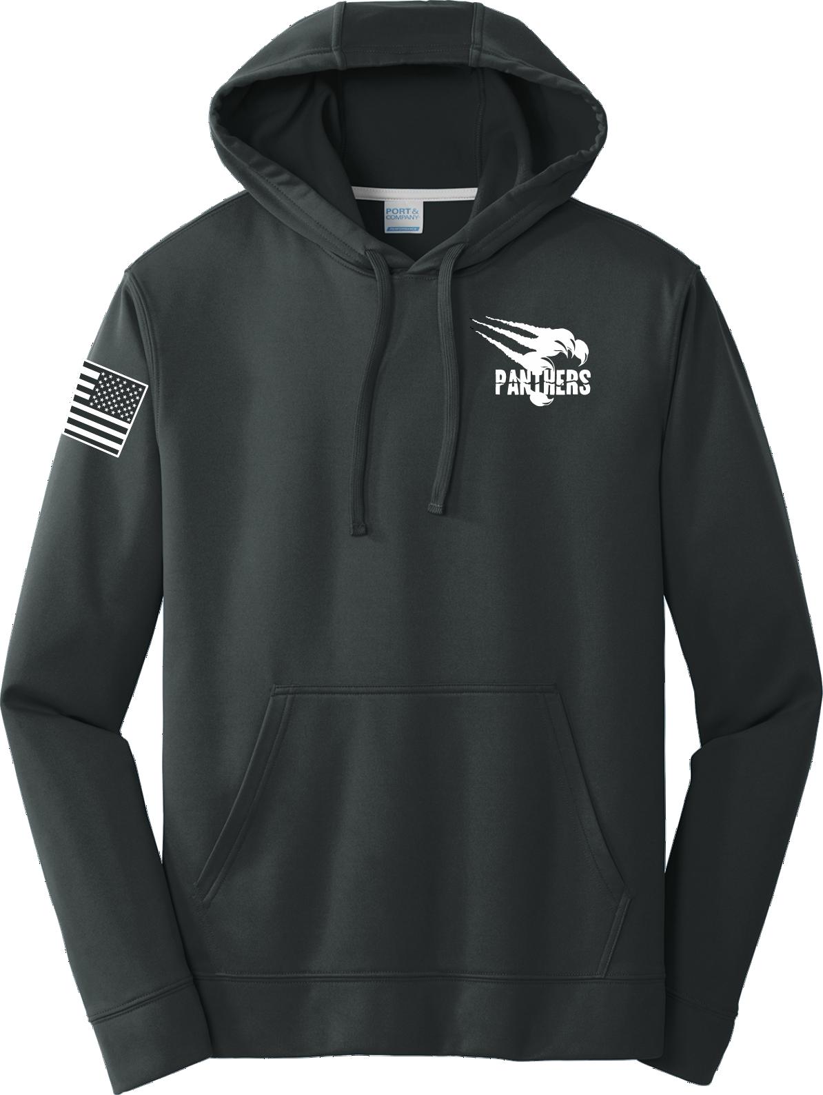 Black Poly Fleece Crew Hooded Sweatshirt