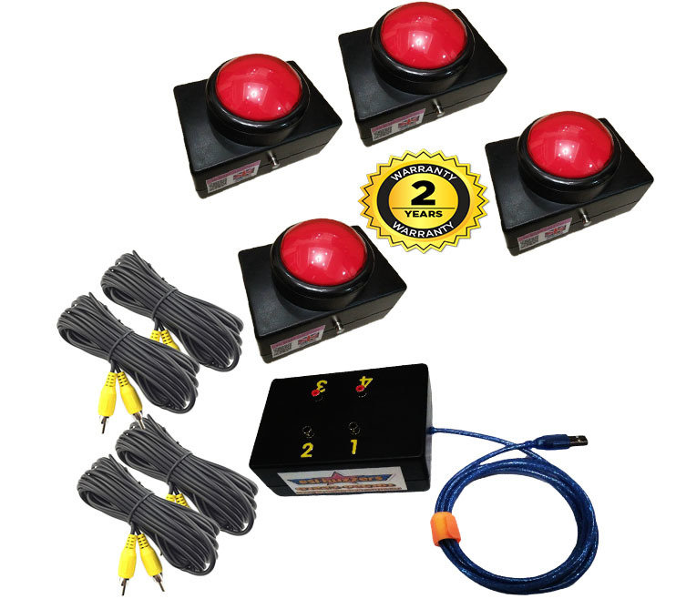 4 Player Buzzer Game System (RED)