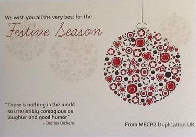 MECP2 Duplication UK Xmas Card