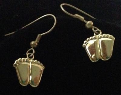 Precious Feet Earrings in Gold or Silver