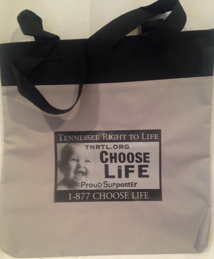Choose Life Plate Canvas Bag in Gray or Purple