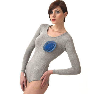 Body / Gray and Blue Heart 1 - SIZE S
