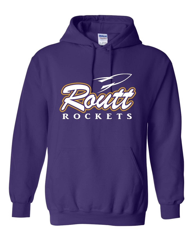 ROUTT-ROCKETS PURPLE-Gildan - Heavy Blend Pullover Hoodie