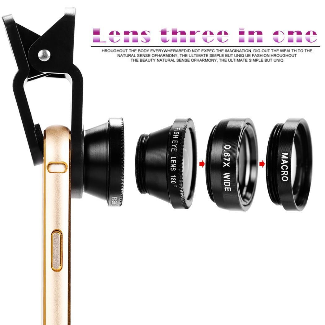 3 in 1 Universal Clip Fish Eye Wide Angle Macro Phone Fisheye Lens For iPhone 6s 7 samsung s7 s8 huawei