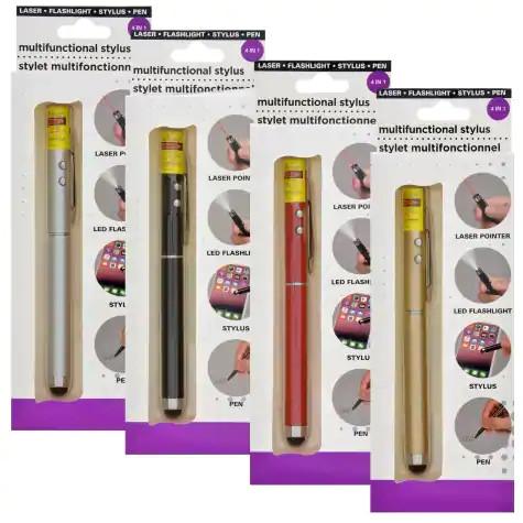 4-in-1 Multifunctional Stylus Tools: Plume - Stylus - Laser - Flash / Pen - Stylus- Flashlight - Laser Pointer