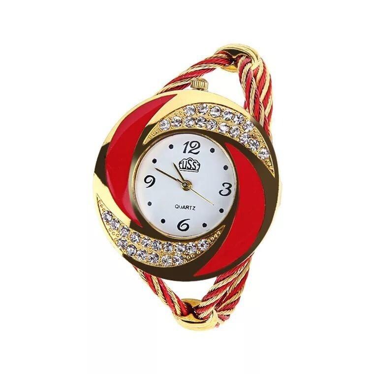 Montre Fashion pour Femme - Couleur Or-Rouge  - Women's Watch Quartz Gold-Black WTH0204