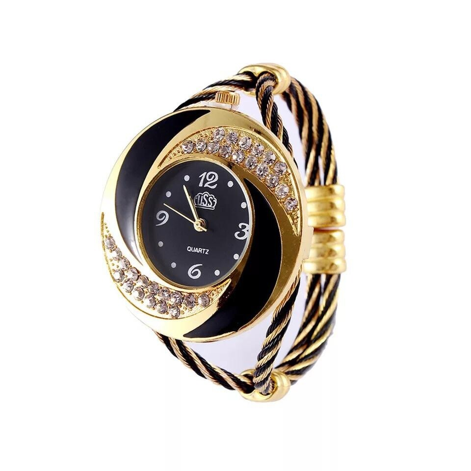 Montre Fashion pour Femme - Couleur Or-Bleu - Women's Watch Quartz Gold-Black