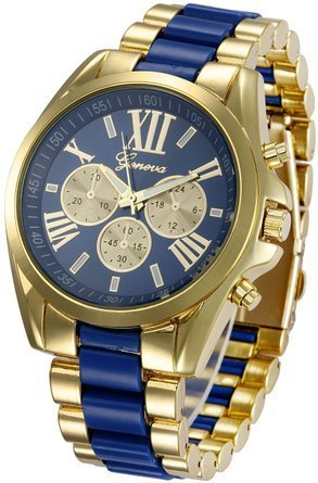 Montre pour Homme - Or Plaque - Watch Gold Plated  - Bleu Fonce et OR - ShopEasy
