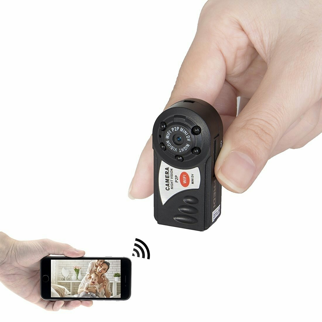 Mini Camera (PAS IP CAMERA) Rechargeable Portatif P2P WiFi Indoor/Outdoor HD DV Camera Espion Video Photo Video Recorder Securite - iPhone/Android Phone/ iPad /PC - VENDU A DES CLIENTS AVISES