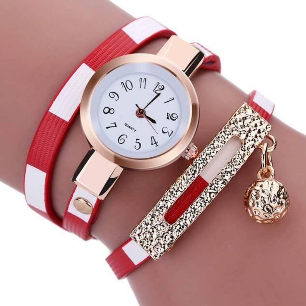 Bracelet Montre Watch Red & White (ROUGE et BLANC)