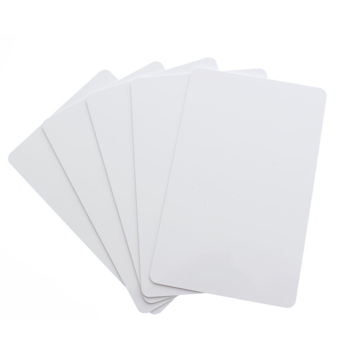 SHOPEASY Carte PVC Vierge pour Impression Badge Blanc CR80 30Mil  - White Blank PVC Plastic Cards for Photo ID card Printers (DataCard, Zebra, Fargo, Evolis, Magicard, NB)