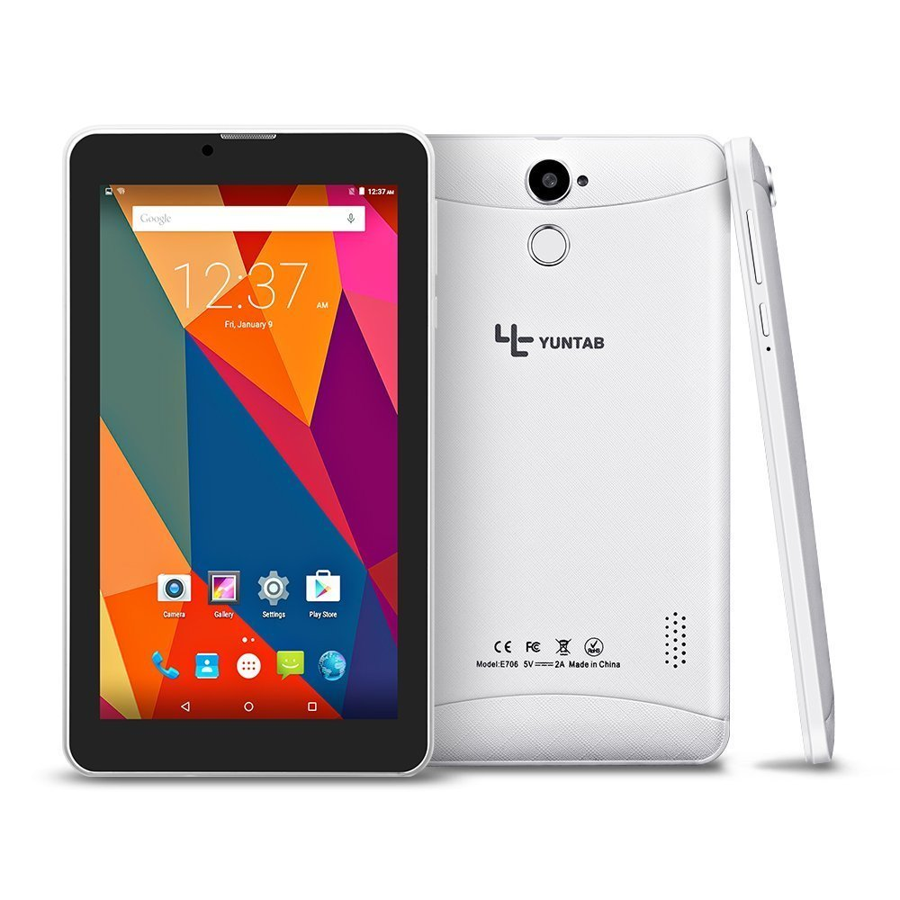 Tablet 7 Pouces BLANC Google Android 5.1 Tablet 3G Unlocked Phone Tablet PC 2G/ 3G/ Wifi 1GB+8GB Quad-Core IPS 1024x600 avec Bluetooth