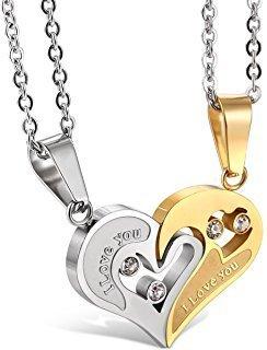 Collier  Amoureux FANTAISIE NON-STAINLESS (PAIRE) Tour de Cou Puzzle - Lovers Necklace