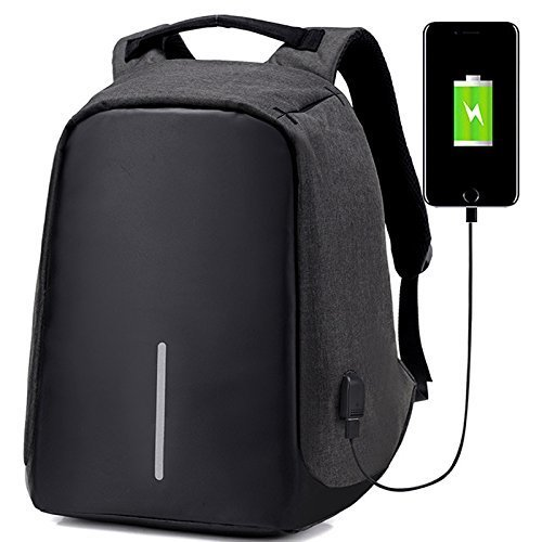 EASYPACK NOIR ou GRIS/NOIR - Sac a Dos Anti-vol pour Laptop avec Port USB (Power Bank NON INCLUS) Water Resistant - Backpack Anti-theft USB Charge - PA GEN OKENN FACTORY KI VOYE YO AK POWER BANK