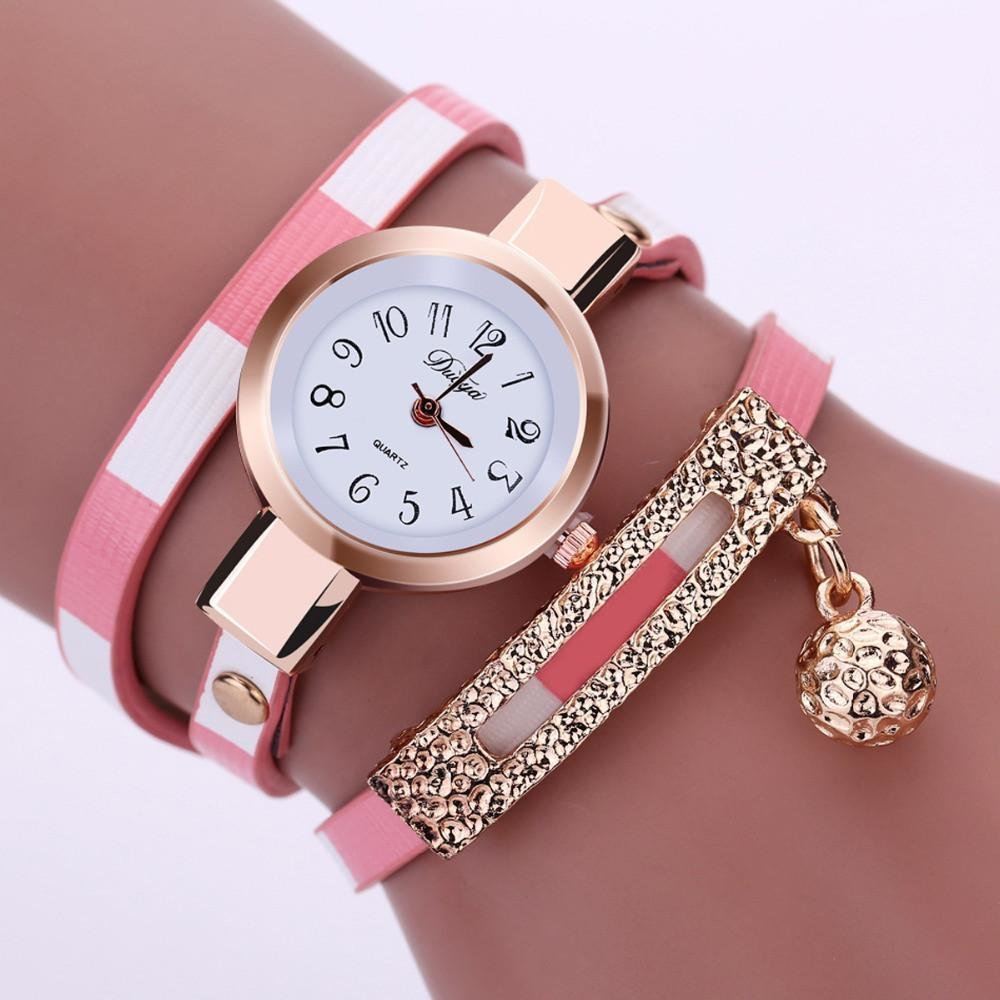 Bracelet Montre Watch Pink & White (ROSE et BLANC)